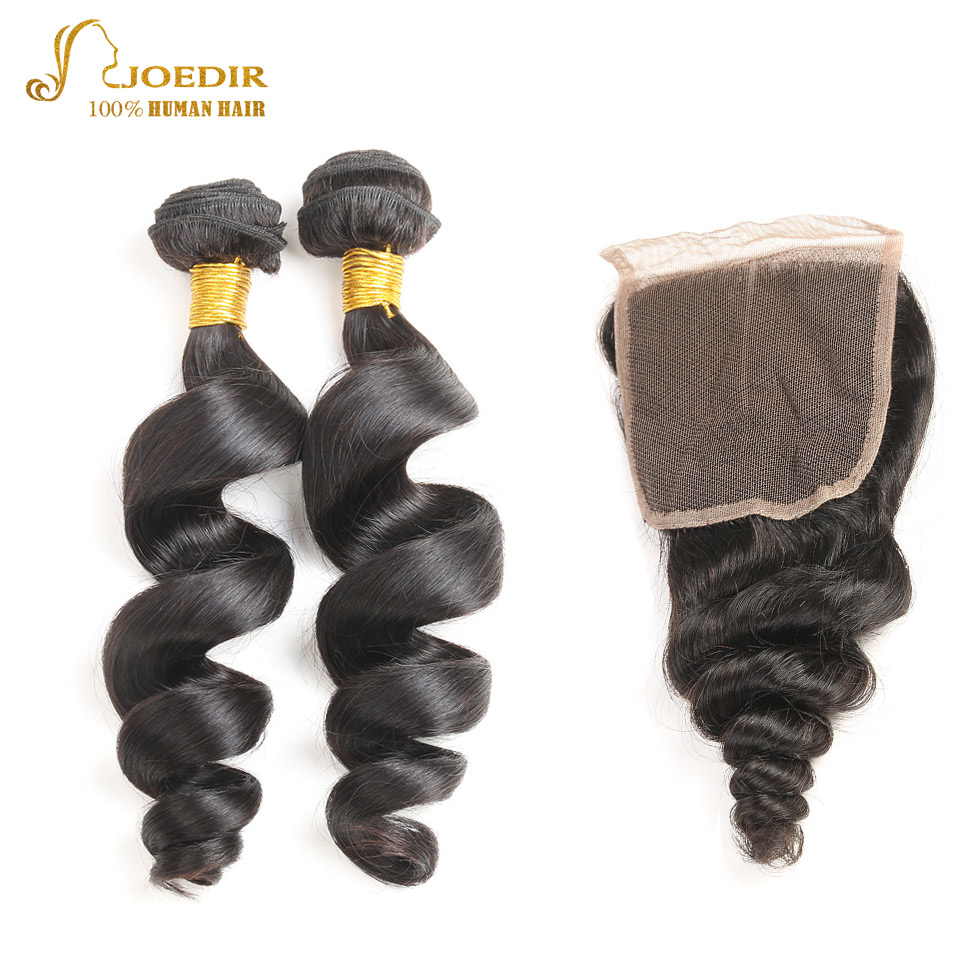 Joedir Brazilian Hair Weave Bundles with Closure 2 Bundles Deal With Closure Cheap Bundles of Hair With Closure Hair Extensions