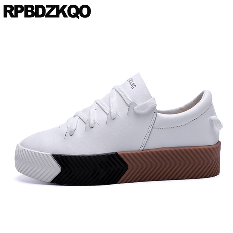 Flats Comfort White Spring Trainers Lace Up Suede Skate Creepers Platform Sneakers Men Shoes Casual Fashion Round Toe 2017 vik max factory outlet white figure skate shoes two size left ice skate shoes cheap figure skate shoes