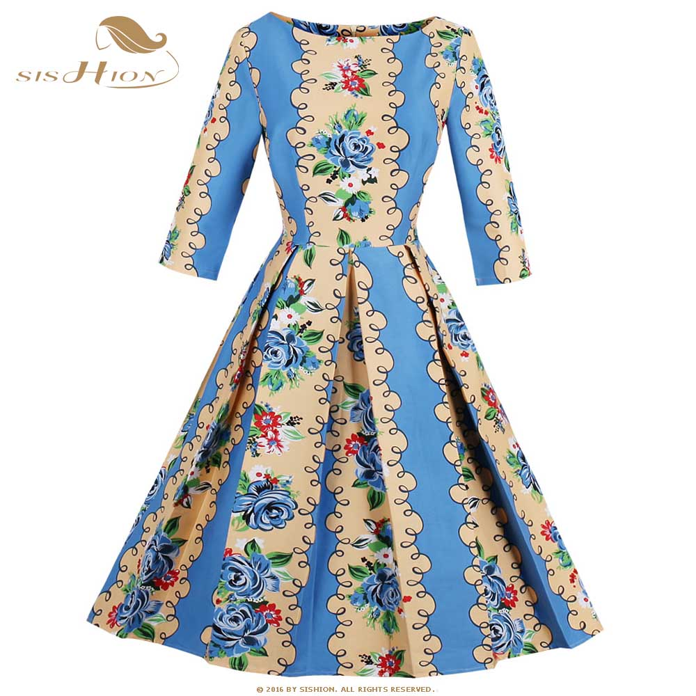 SISHION Vintage Dress Autumn Retro Floral Animal Print 1950s Elegant ...