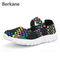 Stretch Elastic Woven Shoes Women Sandals Summer Breathable Flat Female Fashion Light Casual Shoe Soft Size