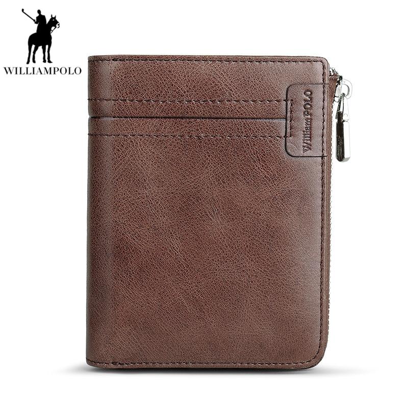 WILLIAMPOLO 2018 Men Genuine Leather Zipper Male Purse Vintage Wallets Cowhide Men Multifunctional Walets PL308