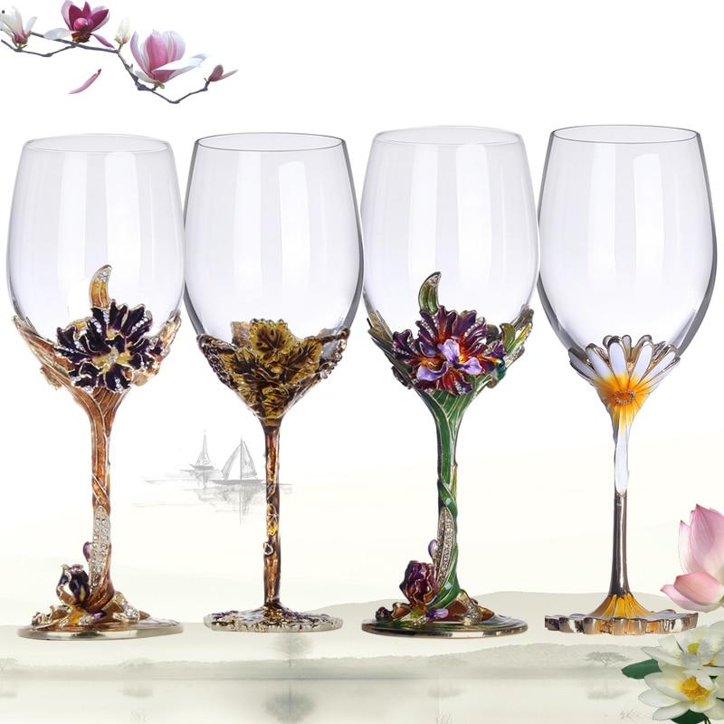 Européenne En Cristal Émail Couleur Vin Champagne Gobelet Créative Cadeau de Mariage De Haute qualité Ensemble Tumbler Quatre Style Choisir Tasse En Verre