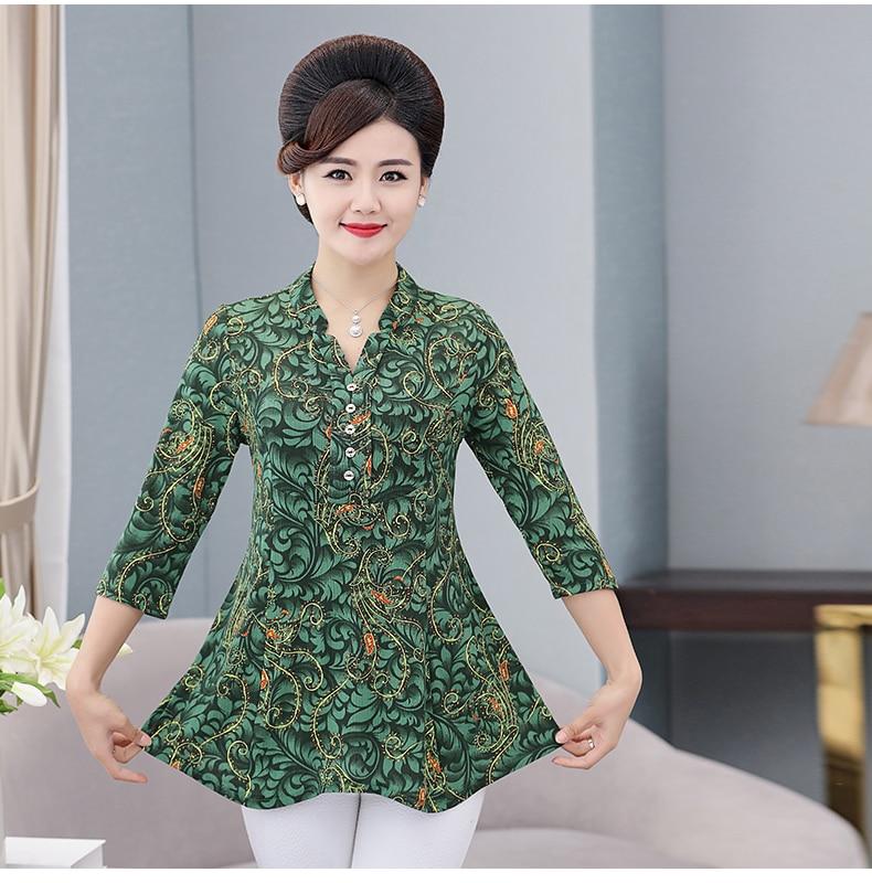 Women Flower Chiffon Blouses Three Quarter Sleeve Crepe Top Woman Peplum Tunic Red Green Print Shirt Plus Size Blouse Lady Shirt Spring (10)