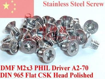 Stainless Steel Screws M2x3  Flat Head 0# Phillips Driver  DIN 965 A2-70 Polished 100 pcs ROHS titanium screws m4x20 din 912 hex 3 0 driver polished