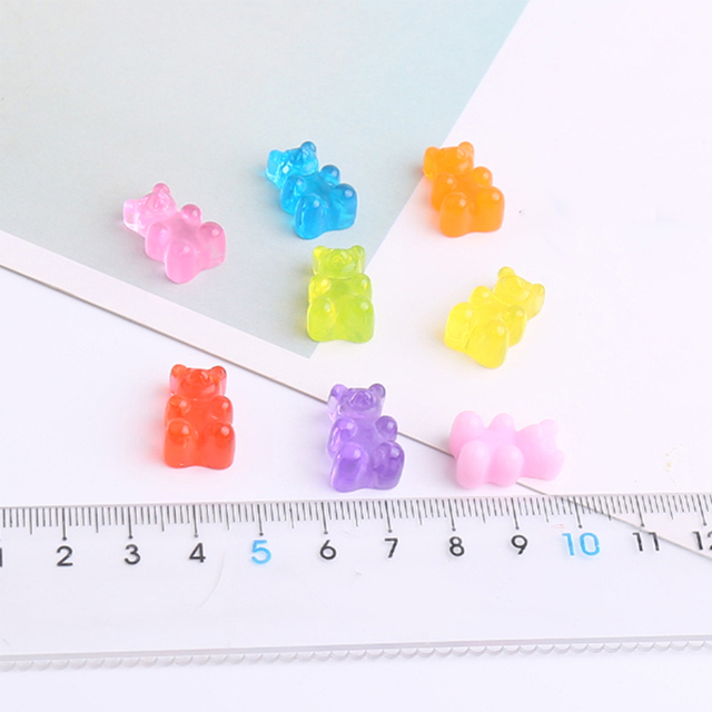 10Pcs Bear Charms for Slime DIY Candy Polymer Bead Filler Addition Slime Accessories Toys Lizun Modeling