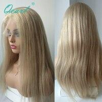 Qearl Китайский девственные волосы парик блондинка человеческих волос 8 26 дюймов прозрачный прямо кружева парик предварительно сорвал натура