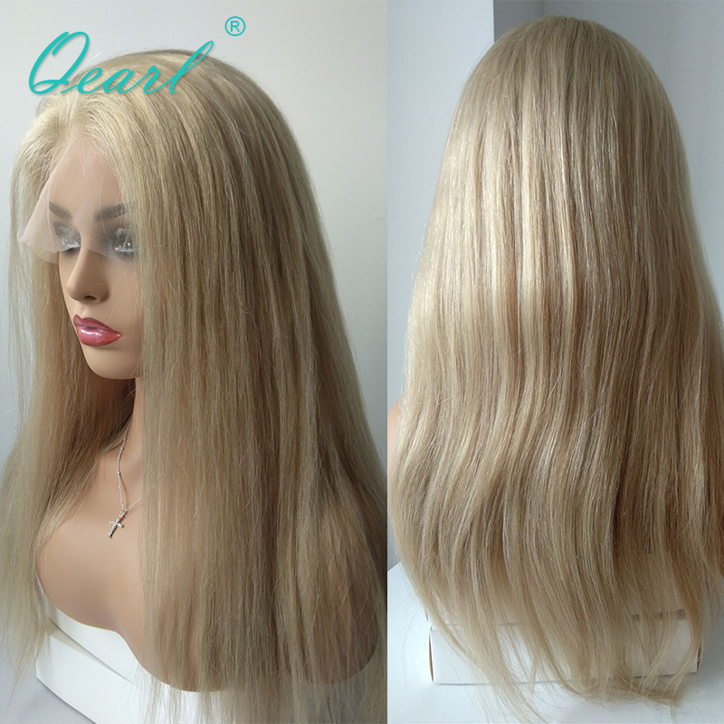 Qearl Chinese Virgin Hair Full Lace Wig Blonde Human Hair 8 26inchs Transparent Straight Lace Wig Pre Plucked Natural Hairline
