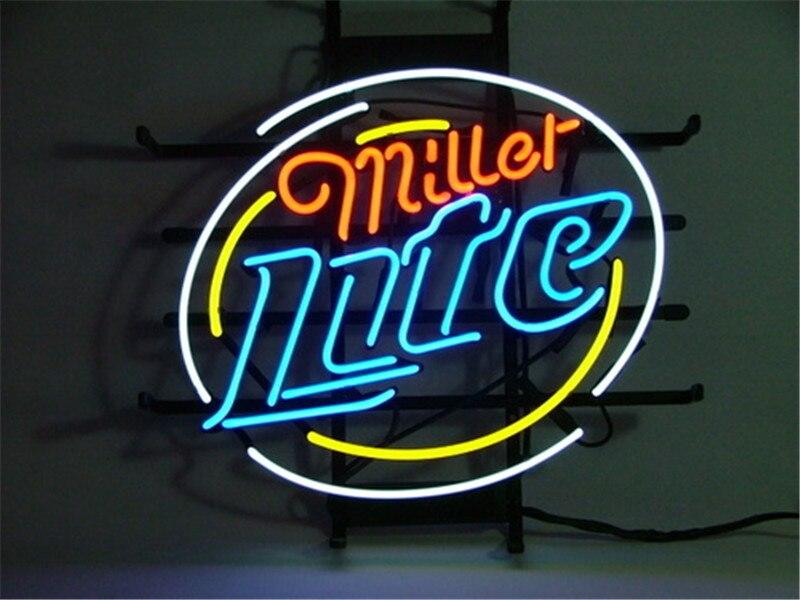NEON SIGN For MILLER LITE Signboard REAL GLASS BEER BAR