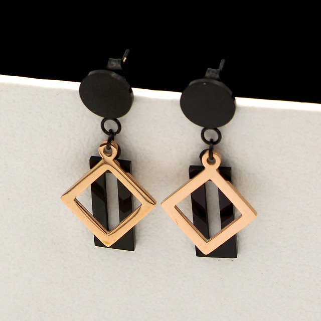 Black Sesame Rose Gold Color Block Rectangle Stud Earrings For Women Engagement Jewelry Stainless Steel