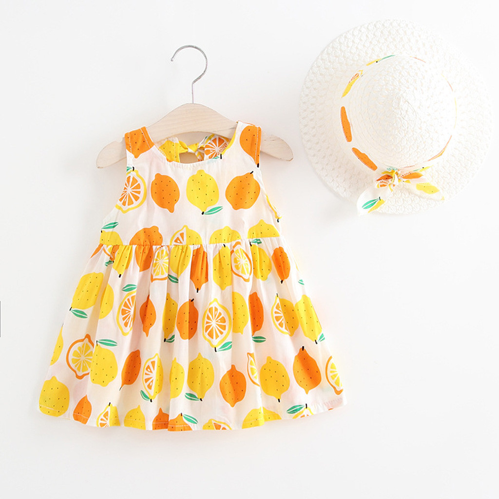 2PCS Toddler Baby Kid Girl Summer Fruit Princess Dresses+Hat Casual Outfits Set