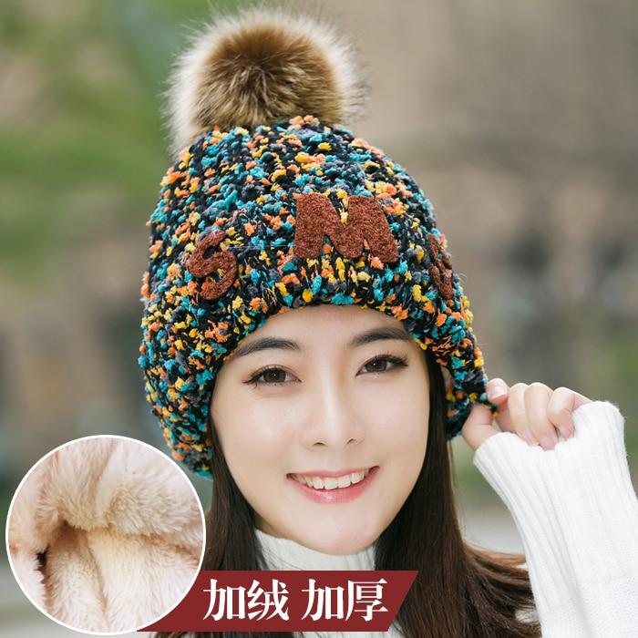 Winter   Beanie   Thicken Fur Pom Poms Hat Female Elegant Wool Knitted 2019 Brand New Women's Hats   Skullies     Beanies   Velvet Inside