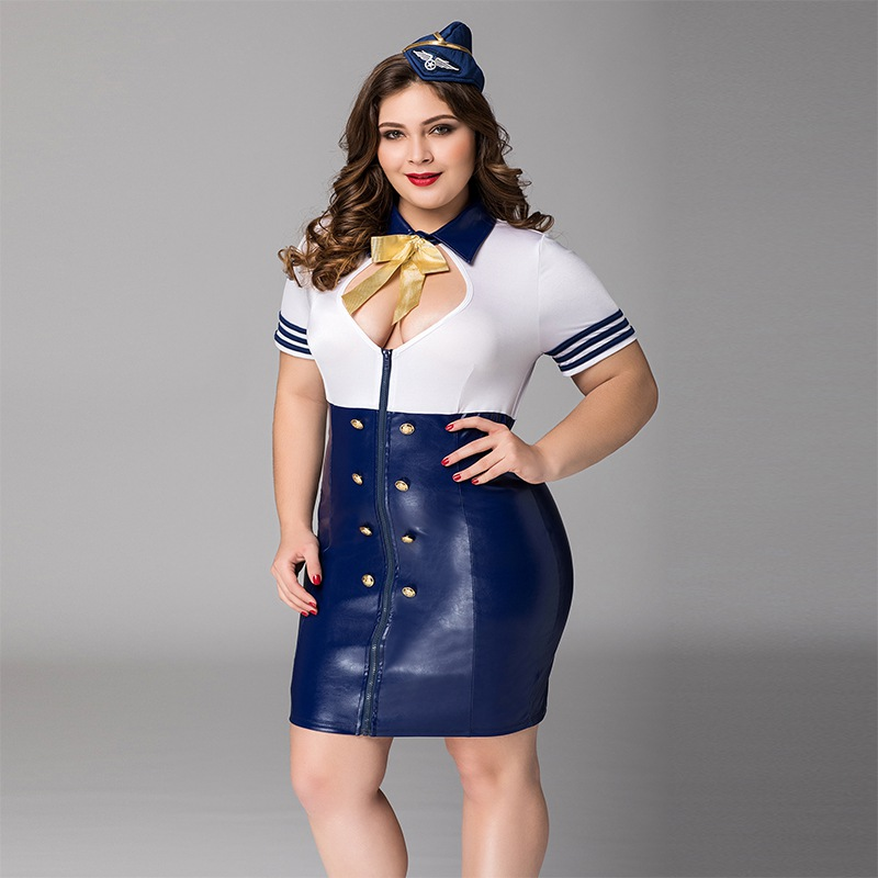 Plus Size Top Grade Cosplay Sexy Flight Attendant Costume Air Hostess Dress Outfits Sexy Airline Stewardess Costumes P71110 image