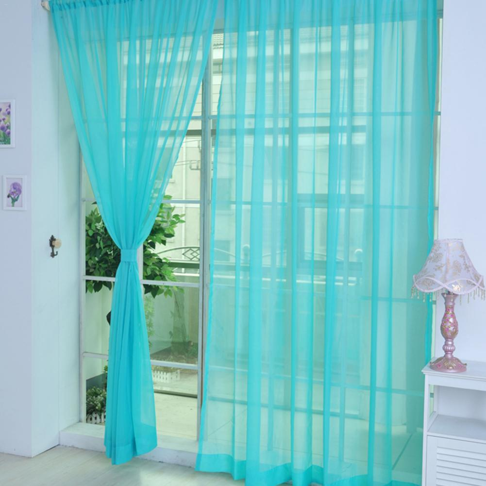 Image 5 - Colors Tulle Translucent Curtain Door Window Curtain Washable Drape Panel Sheer Scarf Valances Home Decoration Curtains-in Curtains from Home & Garden
