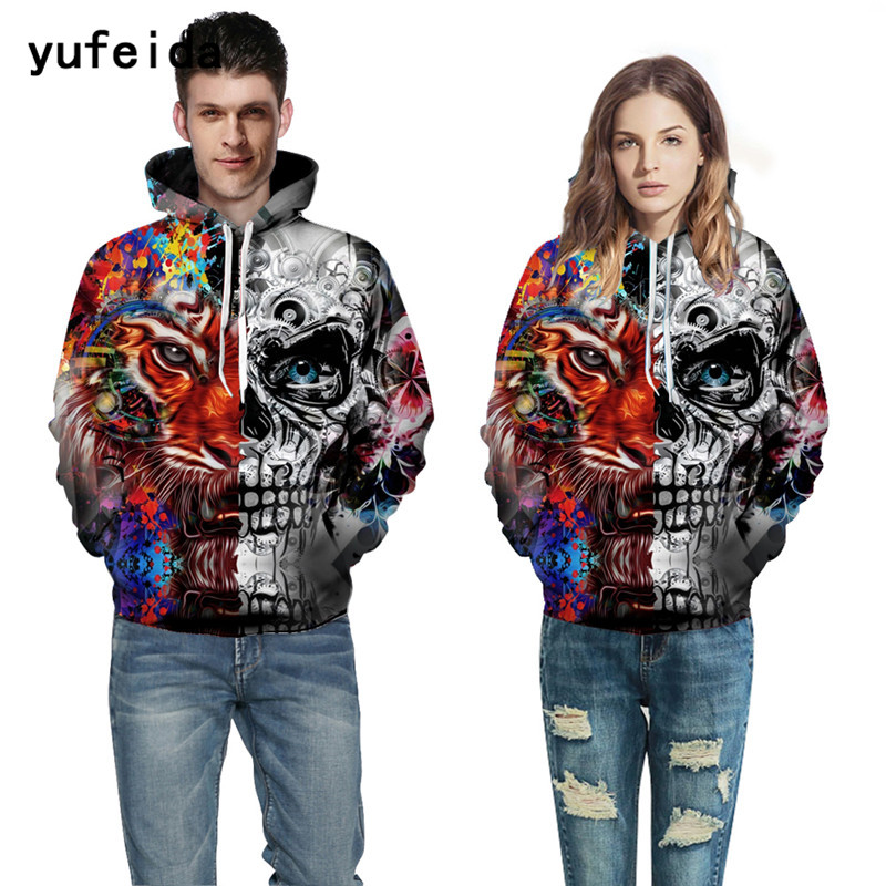 YUFEIDA Paint Skull 3D Printed Hoodies Men Women Sweatshirts Hooded Pullover Qaulity Tracksuits Boy Coats Fashion Outwear