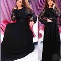 Uma linha de Vestidos Nova Arábia Saudita Chiffon Lace Applique Mangas Compridas Sash Evening Celebridade Longo Vestidos robe de soirée S2345