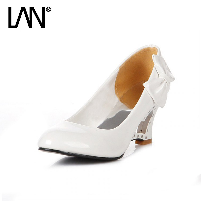 New Arrival Women Wedges High Heels Causal Shallow Slip on Women Pumps Round Toe PU Bow-tie Sexy Party Shoes Plus Size 35-43 2018 new arrival women brand shoe super high heels slip on tassel superstar party woman pumps round toe casual wedding shoes l07