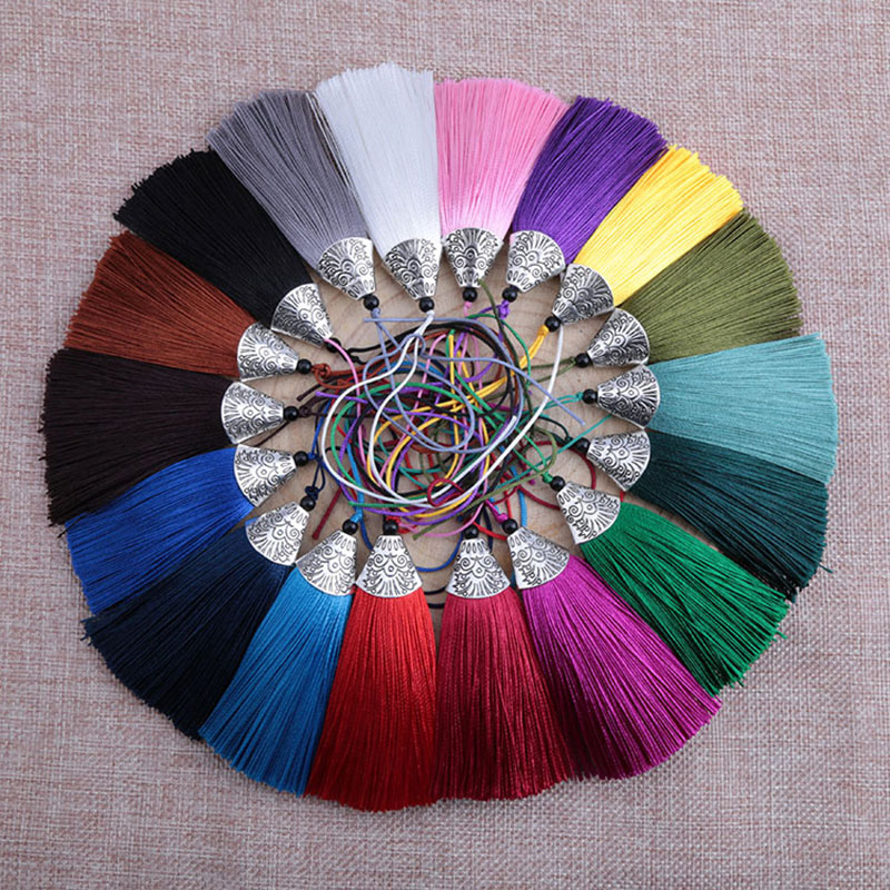 12pcs/lot 8cm Fish mouth tassels with Hanging ring silk sewing tassel trim decorative key for curtains home decoration