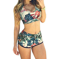 New Fashion Women Swimwear Crop Tops High Waist Shorts Floral Bikini Set Beach Swimsuit S M
