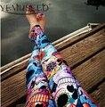 Aptitud de las mujeres LEGGINGS Azul de MEDIANOCHE DEL BUHO de DÍA DE LOS MUERTOS Galaxy Legging Digital Print Pantalones Envío de La Gota