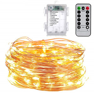 Image 4 - 5M 50LED Kupfer Draht Licht String Batterie Power Mit Fernbedienung Fee Lichter String Hochzeit Christma Urlaub Dekor Beleuchtung