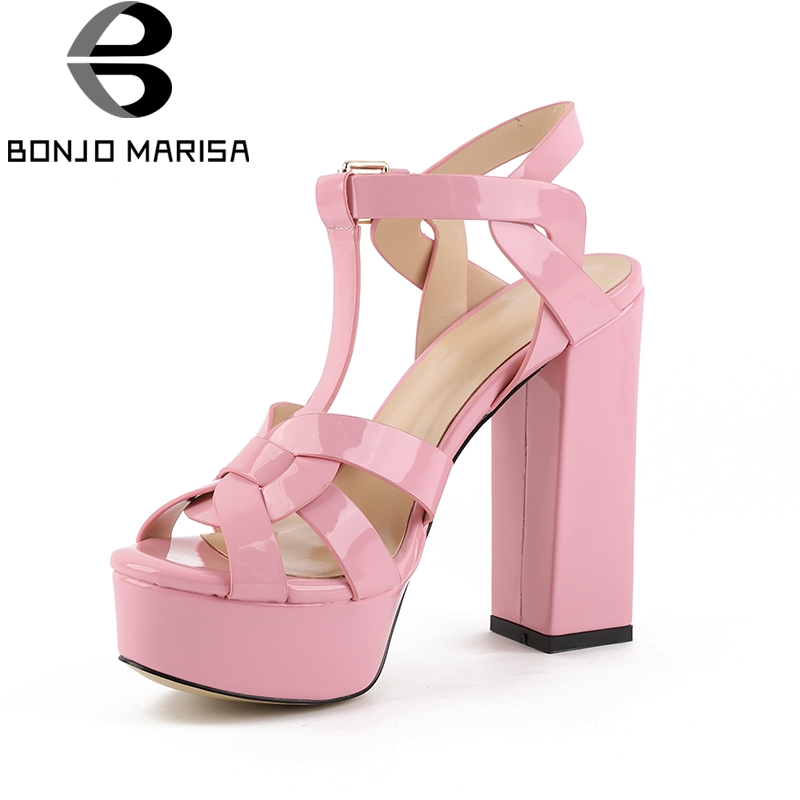 BONJOMARISA 2018 Best Quality Platform t-strap Women Shoes Sexy Super High Heels Party Wedding Brand Design Woman Sandals Shoes цена