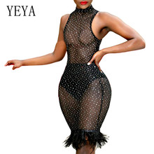 YEYA Sexy See Through Mesh Dress with Rhinestone Diamond for Women Summer Sleeveless Black Hollow Out Club Party Dresses