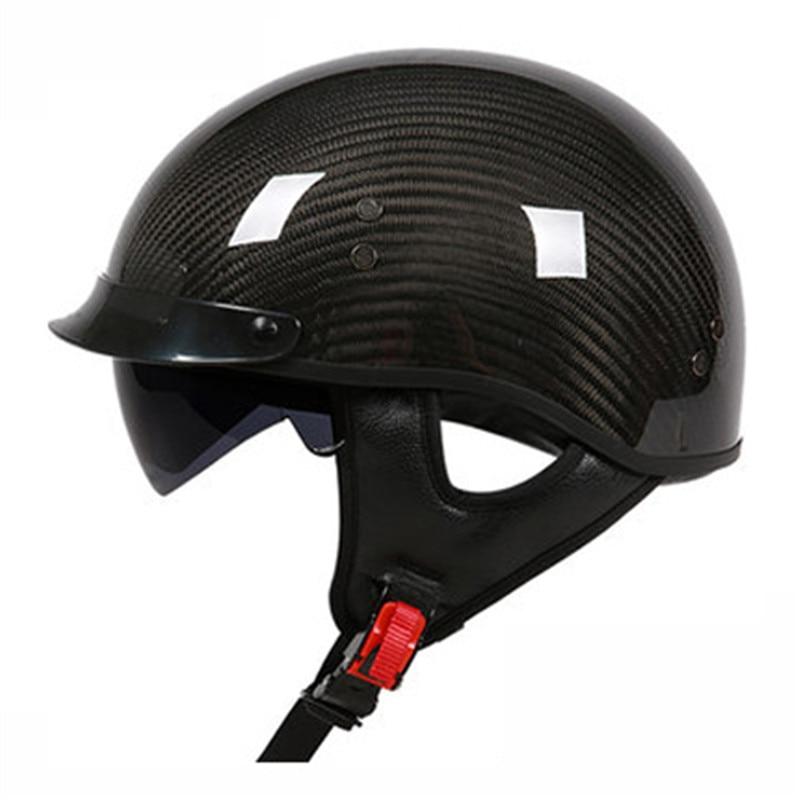 Allemand Pur Fiber De Carbone moitié du visage moto casque approuvé DOT lumière poids open face casque avec intérieure sungalsses