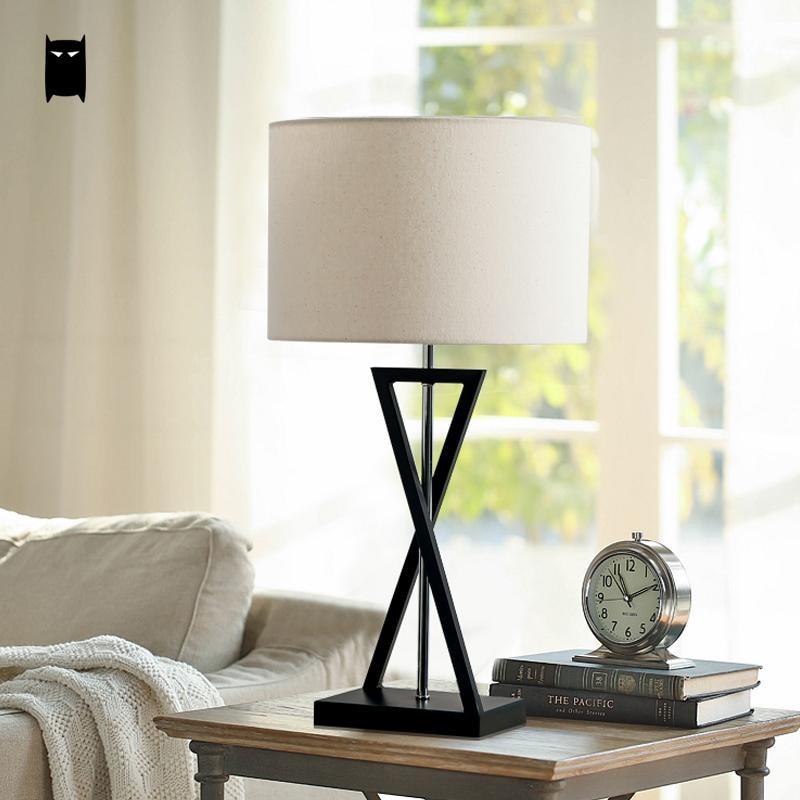 Black Iron Round Fabric Shade Table Lamp Fixture Modern