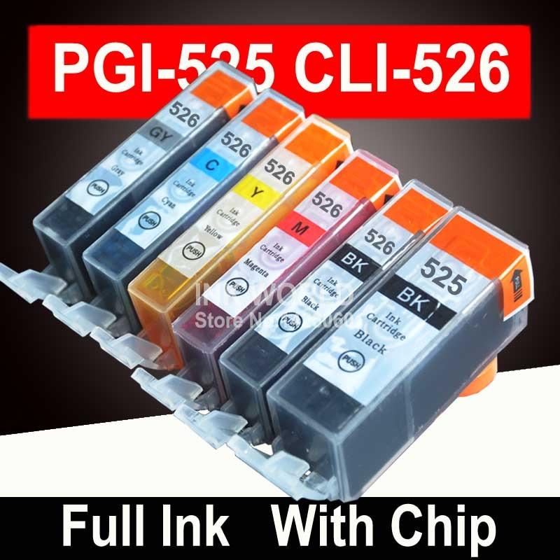 For Canon Pixma MG6150 MG6250 MG8150 MG8250 Printer Cartridge PGI525 PGI 525 CLI 526 INK 6C