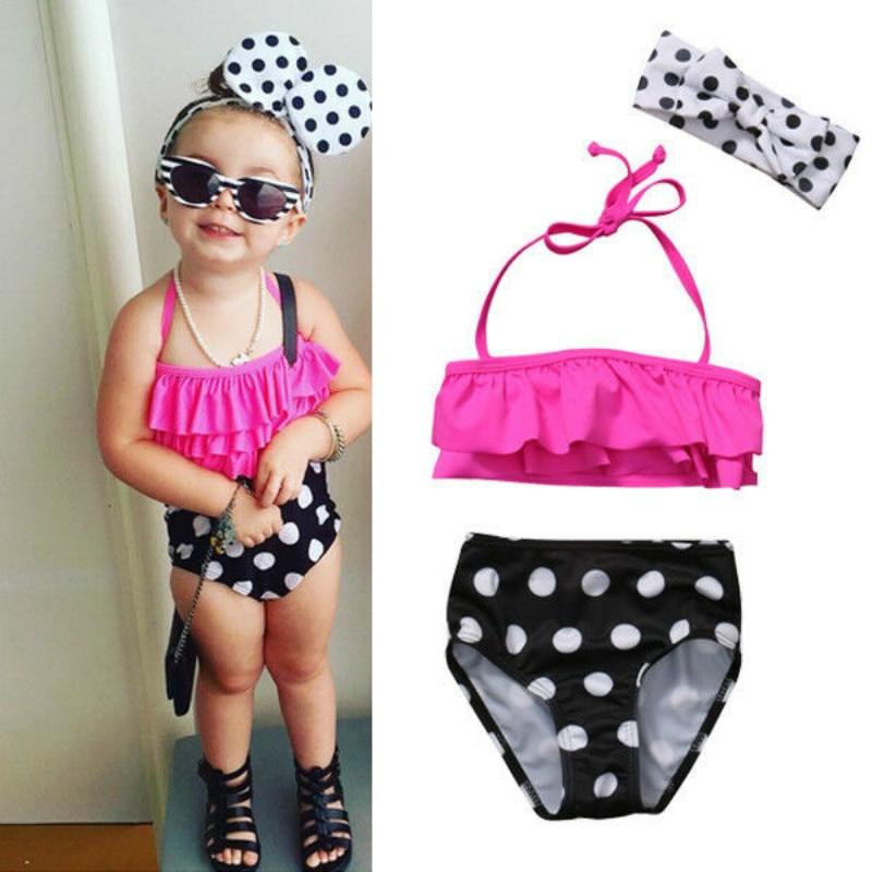 3Pcs Toddler Kids Baby Girls Swimsuit Cute Dot Swimwear Bathing Suit Tankini Bikini Set Beachwear3Pcs Toddler Kids Baby Girls Swimsuit Cute Dot Swimwear Bathing Suit Tankini Bikini Set Beachwear