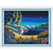 Set for Embroidery Kit Blue Dreamy Scenery Cross Stitch Needlework Cross-Stitch