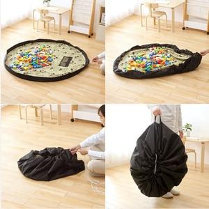 Image 3 - Taşınabilir çocuk oyuncak saklama çantası ve oyun matı oyuncaklar organizatör Bin kutu XL moda pratik saklama çantası s su geçirmez piknik örtüsü 64142