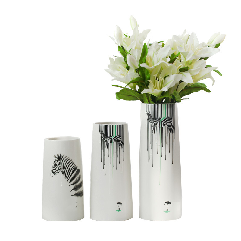 Nordic Modern Ceramic Vase White Zebra Desktop Flower Vases