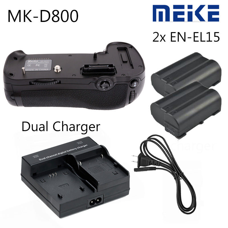 Meike MK-D800 MB-D12 Battery Grip for Nikon D800 D810 + 2 X EN-EL15 + DUAL charger meike mk d800 battery grip for nikon d800 d810 as mb d12 2 en el15 dual charger shutter release