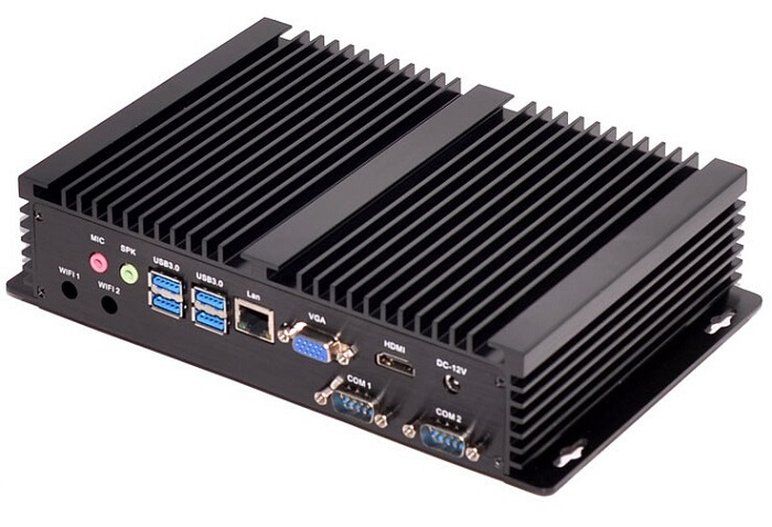 Fanless Industiral Mini PC Linux Windows XP Aluminum Rugged Computer Celeron 1007U 1.5GHz Dual Core 1*Lans 2*RS232 COM HDMI+VGA
