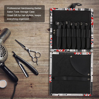 7pcs Hair Scissors Case Shears Holder PU Leather Professional Hairdressing Barber Salon Tools Storage Case