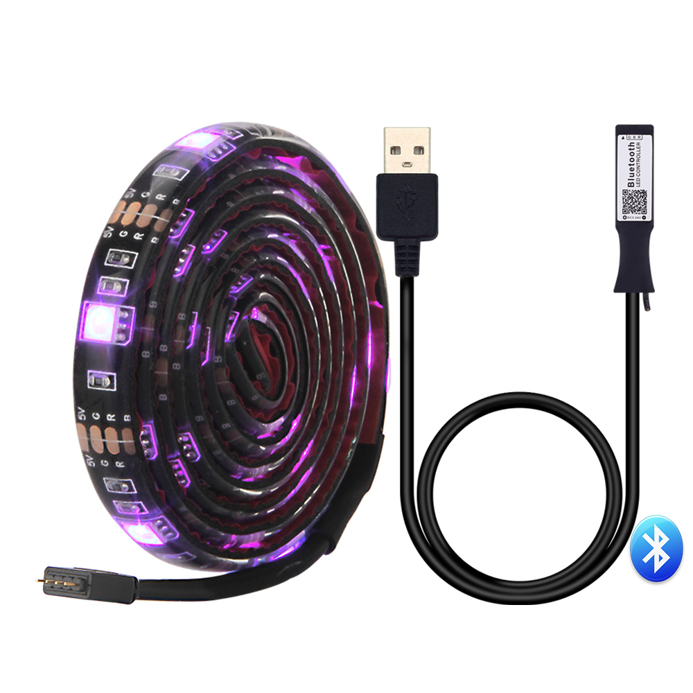 USB LED Strip 5050 RGB With Bluetooth LED controller app control by mobile phone for TV background lighting Flexible strip light shoulder cut plus size flower blouse