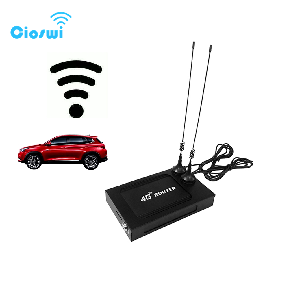 Cioswi Car Router 802.11AC Modem 4G Wifi Sim Card Vehicle Router Portable Wi-Fi Powerline Adapter 9V-28V 7 External 5dbi Antenna