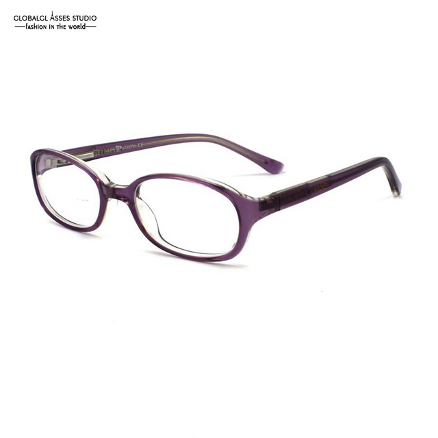 ae5493a0322 Cute Oval Lens Acetate Kids  Glasses Frame Girls Crystal Purple Print  Temple Spring Hinge Myopia Optical Eyewears 8001-C2