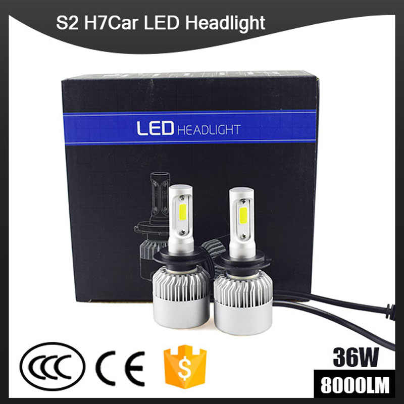 Car H4 LED S2 Headlight Bulb 12V 36W 8000LM 6500K IP67 H1 H3 H7 H11 H13 880 9005 9006 Hb3 Hb4 LED Light Auto Lamp Headlamp Kit