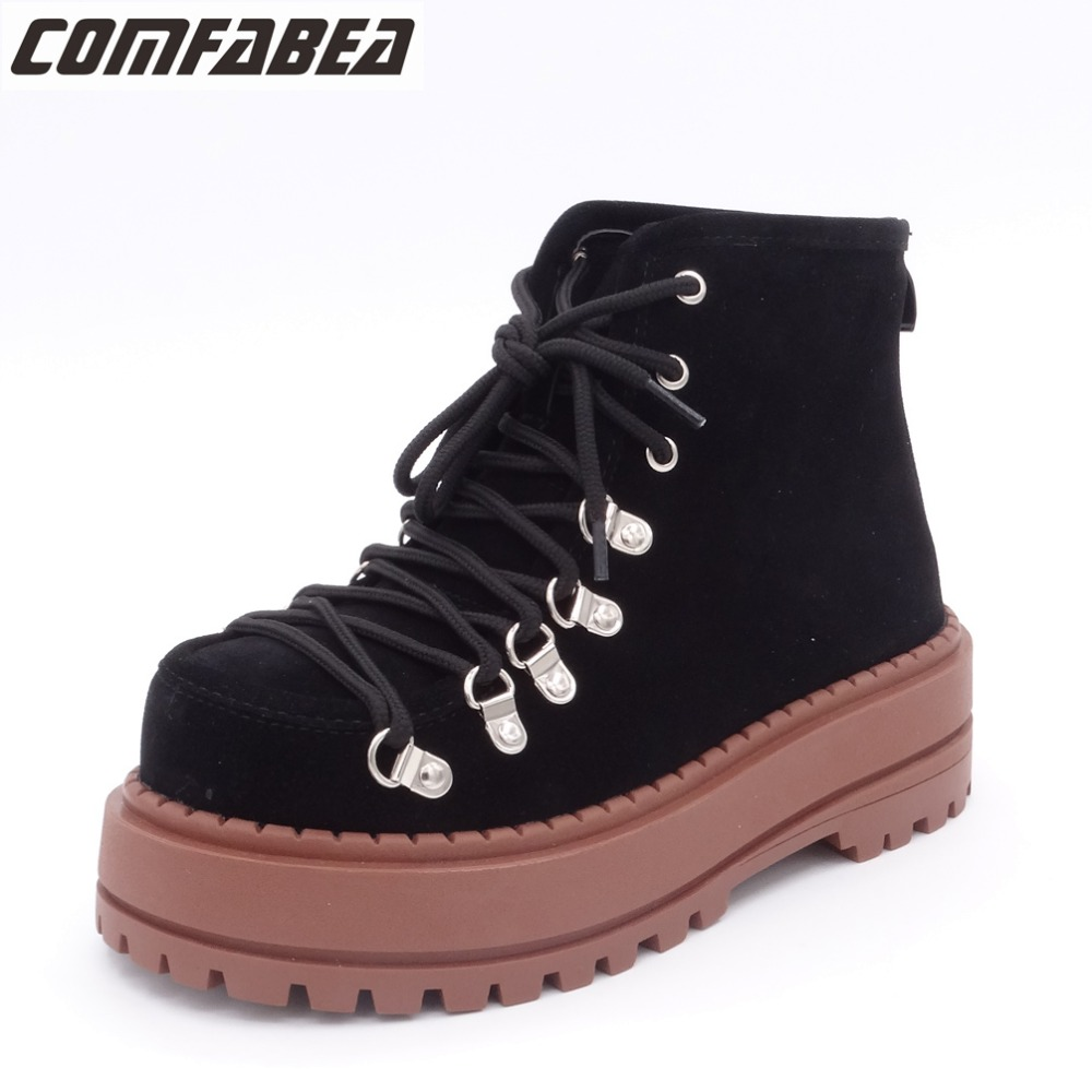 Autumn Winter 2017 Ankle Boots For Women Platform Boots Fashion Lace Up Punk Martin Boots Ladies Casual Woman shoes цены онлайн