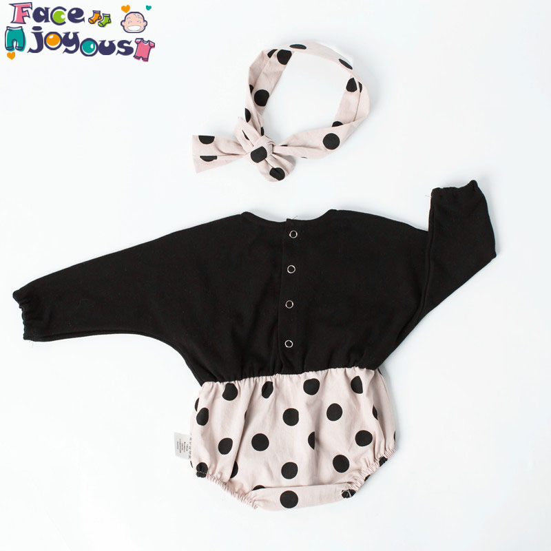2019 New Baby Bodysuits Cute Dots Long Sleeve Girls Sets Overall Cotton Infant Newborn Clothes Romber+headband+pantyhose