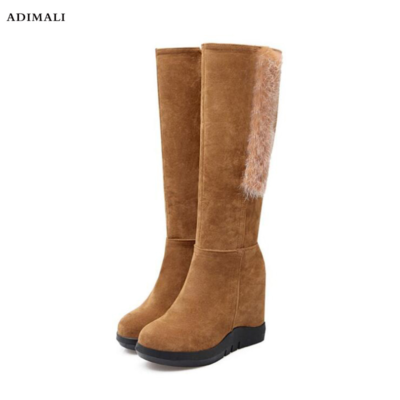 все цены на Fashion Scrub Fur Snow Boots Women Wedges Over the Knee Thigh High Boots Winter Thermal Female Fringed Shoes Warm Plus Size 42 онлайн
