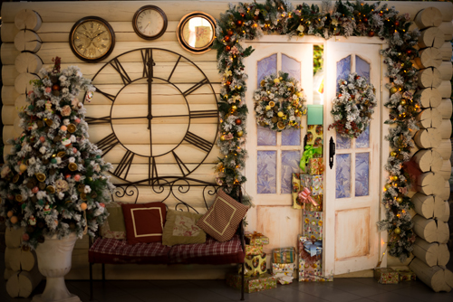 цены  HUAYI  Christmas Photography Backdrop Scenery Custom Photo Portrait Studios Background Christmas door backdrop XT4976