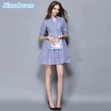 Fresh Striped Dress 2018 Summer Women A-Line Lady Fashion Clothing Casual Striped Bodycon Party Dresses Vestidos With Corsage