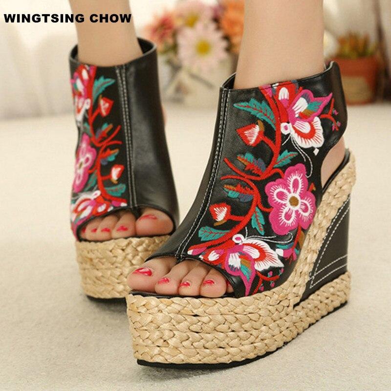 ФОТО 2017 Handmade Summer Shoes Women Sandal Fashion Peep Toe High Heels Wedges Platform Sandals Women Pumps Sandalias Scarpe Donna