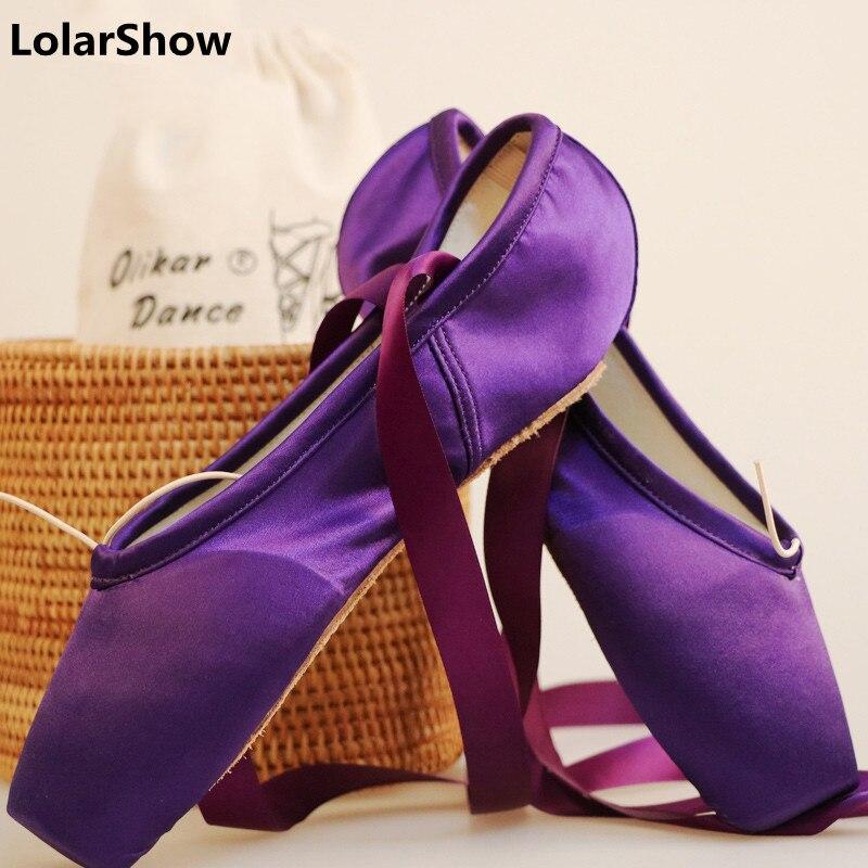 9 Colors Satin Pointe Shoe  Women Shoes Professional  Ballet Dance Pointe Toe Shoes  Black Purple Red