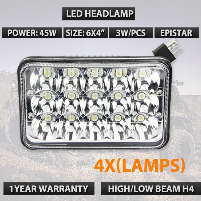 4pcs/lots LED Lights 4 X 6 Rectangular Sealed 45W LED Headlight Headlamp replacement  High Low Beams DHL FREE SHIPPING