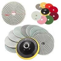 9 pcs Wet Dry Diamante Polir 4 Polegada Conjunto Com Backer Pad Para O Granito Pedra Mármore Concrete Moagem Polonês Lixar Mayitr