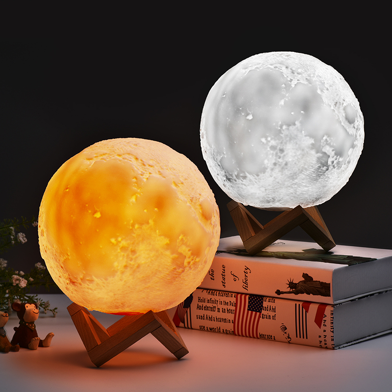 15/18CM 3D Magical Moonlight Desk Lamp Moon LED Night Light USB Rechargeable 3 Light Colors for Home Decoration Creative Gift 3d magical moon lamp usb led night light moonlight touch sensor color changing night light 8 10 13 15 18 20cm christmas gift